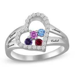 Mother's Birthstone and White Sapphire Tilted Heart Split Shank Ring (1-4 Stones and Names)