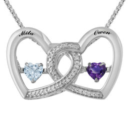 Unstoppable Love™ Couple's 4.0mm Birthstone and Diamond Accent Interlocking Hearts Necklace (2 Stones and Names)
