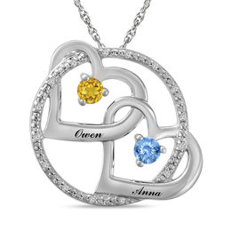 Couple's 3.0mm Birthstone and Diamond Accent Circle with Interlocking Hearts Pendant (2 Stones and Names)