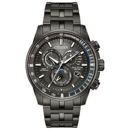 Men's Citizen Eco-Drive® Perpetual Chrono A-T Grey IP Watch (Model: AT4127-52H)