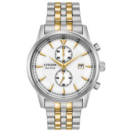 Men's Citizen Eco-Drive® Corso Chronograph Two-Tone Watch with White Dial (Model: CA7004-54A)