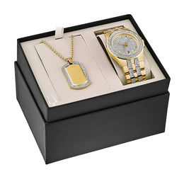 Men's Bulova Crystal Accent Gold-Tone PVD Watch and Dog Tag Pendant Box Set (Model: 98K102)