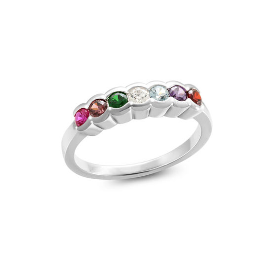 Mother's Birthstone Scallop Border Ring in Sterling Silver (3-7 Stones) 20125905