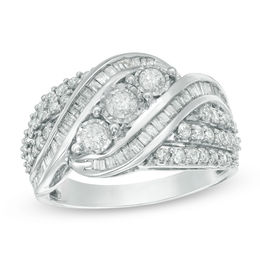 1 CT. T.W. Baguette and Round Diamond Three Stone Multi-Row Bypass Ring in Sterling Silver - Size 7