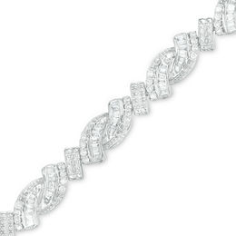 2 CT. T.W. Baguette and Round Diamond Bypass Bracelet in Sterling Silver