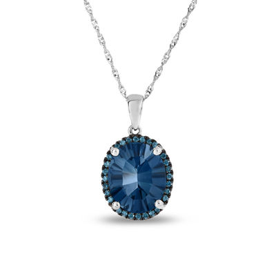 e076dda61 Oval London Blue Topaz and 1/10 CT. T.W. Enhanced Blue Diamond Frame Pendant  in 14K White Gold