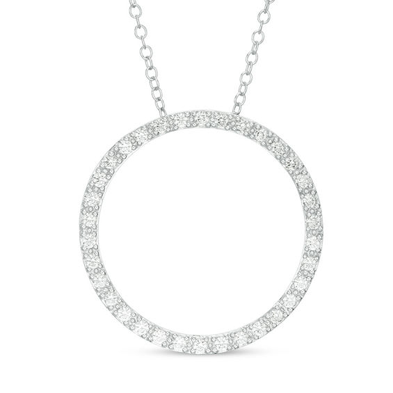 1/2 CT. T.w. Diamond Open Circle Pendant in 14K White Gold