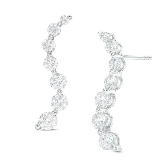 T W Journey Diamond Drop Earrings In 14k White Gold