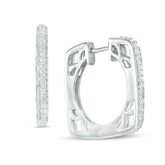 T W Diamond Square Hoop Earrings In 14k White Gold