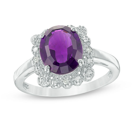 Oval Amethyst and Diamond Accent Scallop Frame Vintage-Style Ring in Sterling Silver 20127611