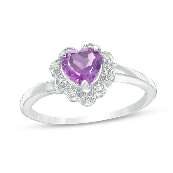6.0mm Heart-Shaped Amethyst and Diamond Accent Scallop Frame Ring in Sterling Silver 20127617