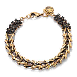 Alex and Ani Flapper Black Crystal Chevron Link Bracelet in Gold-Tone Brass