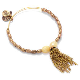 Alex and Ani Artist's Palette Tassel and Peach Glass Beaded Bangle in Gold-Tone Brass