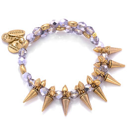 Alex and Ani Rock and Raw Lavender Glass Beaded and Spike Wrap Bangle in Gold-Tone Brass
