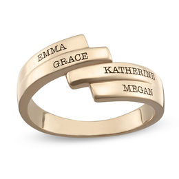 Mother's Double Row Bypass Wrap Ring in Sterling Silver with 18K Gold Plate (4 Names)