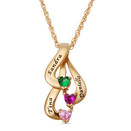 Mother's Heart-Shaped Simulated Birthstone Ribbon Pendant in Sterling Silver with 18K Gold Plate (2-3 Stones and Names)