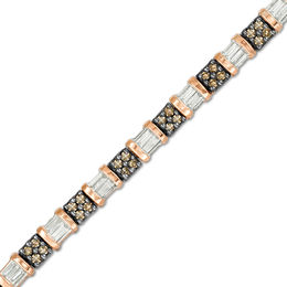 1 CT. T.W. Champagne and White Diamond Tennis Bracelet in 10K Rose Gold
