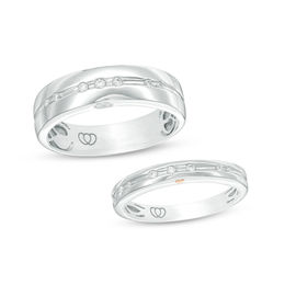 1/8 CT. T.W. Diamond Duo Wedding Band Set in 10K White Gold