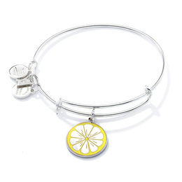 Alex and Ani Zest for Life Lemon Charm Bangle in Brass with Silver Electroplate