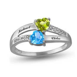 Mother's 4.0mm Heart-Shaped Birthstone and Diamond Accent Split Shank Ring (4 Stones and Names)