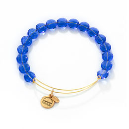 Alex and Ani Sapphire Luxe Glass Beaded Bangle in Brass with Gold Electroplate