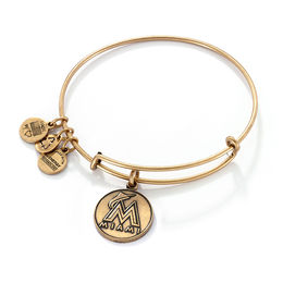 Alex and Ani Miami Marlins Logo Charm Bangle in Gold-Tone Brass