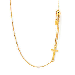 Alex and Ani Cross Adjustable Pull Chain Bracelet in 14K Gold Fill