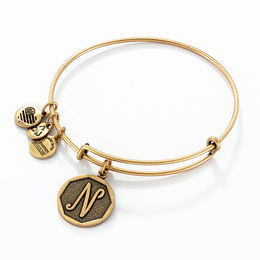 "Alex and Ani Initial ""N"" Charm Bangle in Gold-Tone Brass"