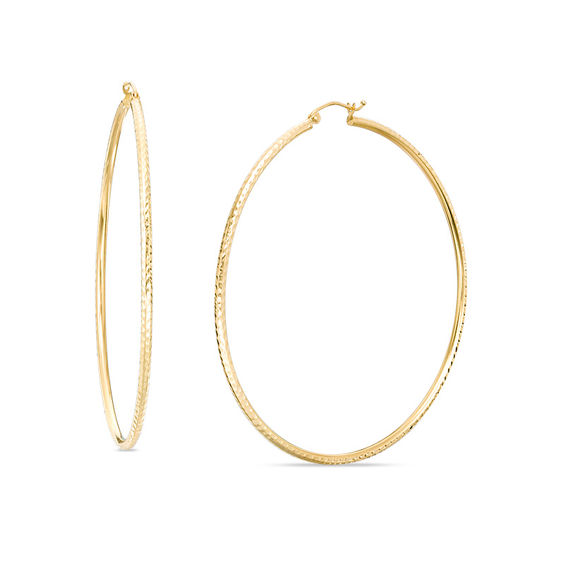 Image result for 2.0 x 65.0mm Diamond-Cut Hoop Earrings in 14K Gold