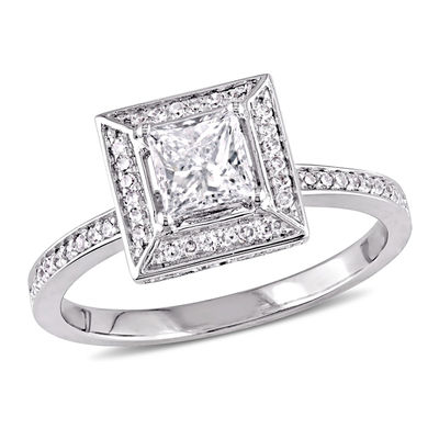 5c209fa90 3/4 CT. T.W. Princess-Cut Diamond Frame Engagement Ring in 14K White ...