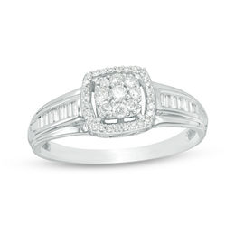 1/3 CT. T.W. Composite Diamond Cushion Frame Ring in 10K White Gold