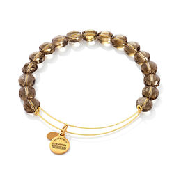 Alex and Ani Smoke Luxe Glass Beaded Bangle in Brass with Gold Electroplate
