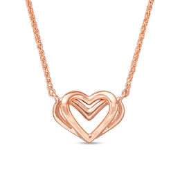 The Kindred Heart from Vera Wang Love Collection Mini Necklace in 14K Rose Gold - 19""