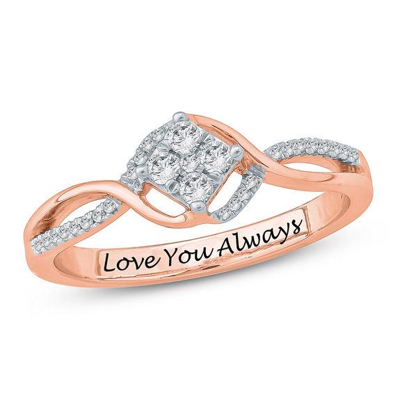 1 5 CT T W posite Diamond Split Shank Promise Ring in Sterling Silver wi