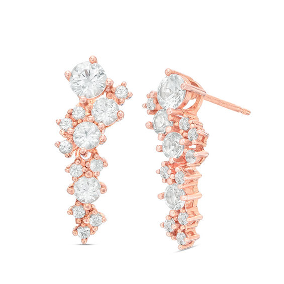 Image result for Lab-Created White Sapphire Cluster Drop Earrings in Sterling Silver with 18K Rose Gold Plate