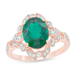 Oval Lab-Created Emerald and 1/5 CT. T.W. Diamond Vintage-Style Frame Ring in 10K Rose Gold
