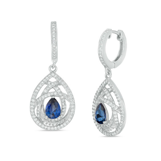 Fine Jewelry Lab-Created Blue Sapphire & White Sapphire Sterling Silver Earrings CTz9Yd5yy