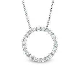 1/2 CT. T.W. Certified Diamond Circle Pendant in 14K White Gold (H/I1)