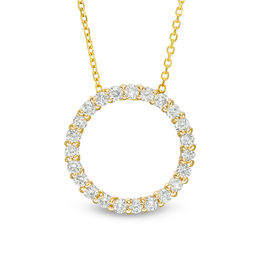 1/2 CT. T.W. Certified Diamond Circle Pendant in 14K Gold (H/I1)