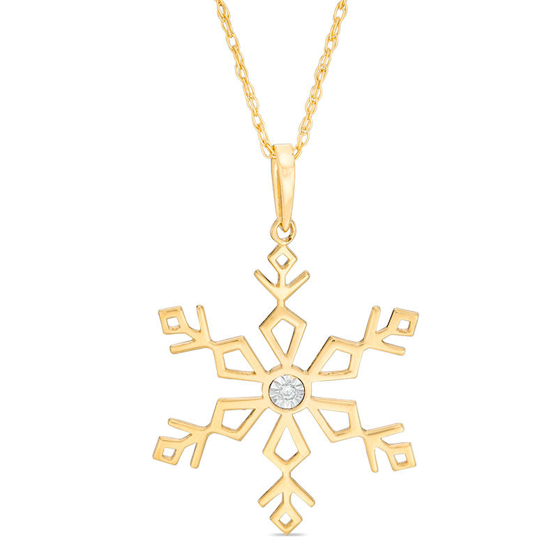 Zales Diamond Accent Solitaire Laser-Cut Heart Snowflake Pendant in 10K Rose Gold lxgk8i3