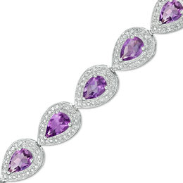 Pear-Shaped Amethyst and Diamond Accent Beaded Frame Bracelet in Sterling Silver - 7.25""
