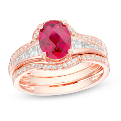 Oval Lab Created Ruby And White Sapphire Bridal Set In Sterling