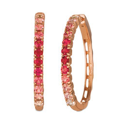 Le Vian® Passion Ruby™ and Strawberry Sapphires™ Ombre™ Hoop Earrings in 14K Strawberry Gold®