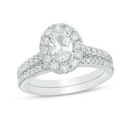 Celebration Grand® 1-1/2 CT. T.W. Oval Diamond Frame Bridal Set in 14K White Gold (I/I1)