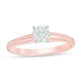 1/2 CT. Certified Diamond Solitaire Engagement Ring in 14K Rose Gold (I/SI2)