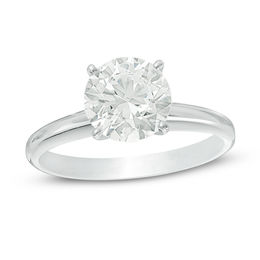 2 CT. Certified Diamond Solitaire Engagement Ring in 14K White Gold (I/SI2)