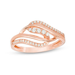 1/5 CT. T.W. Diamond Crossover Ring in 10K Rose Gold