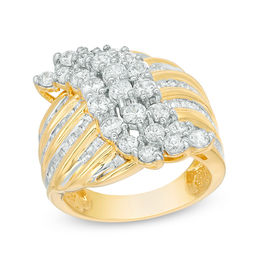 2 CT. T.W. Baguette and Round Diamond Wave Ring in 10K Gold
