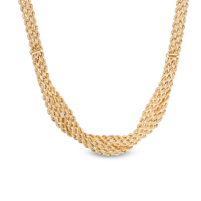 672509247 Ladies' Made in Italy Double Row Braided Rope Chain Necklace in 14K Gold -  18