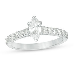 1 CT. T.W. Certified Marquise Diamond Engagement Ring in 14K White Gold (I/I1)